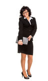 Cheerful senior business woman with Tablet computer Royalty Free Stock Image