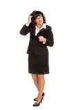 Cheerful senior business woman with Tablet computer Scratches a Royalty Free Stock Images