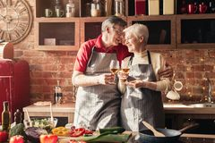 Cheerful senior couple clinking with wine glasses in kitchen royalty free stock photo