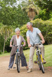 Cheerful senior couple on cycle ride in countryside Stock Images