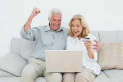 Cheerful Senior Couple Doing Online Shopping On Sofa Stock Images