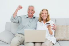 Cheerful senior couple doing online shopping on sofa Royalty Free Stock Image