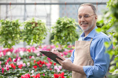 Cheerful senior gardener is working at greenhouse. Skillful old florist is standing in garden center. He is holding a folder of documents and writing some notes Royalty Free Stock Photos