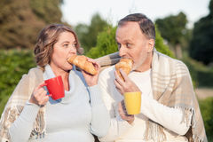 Cheerful senior husband and wife are eating in Royalty Free Stock Image