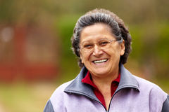 Cheerful senior lady outdoor Stock Image