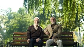 Cheerful senior men with walking sticks sitting on bench, happy life in old age royalty free stock photo