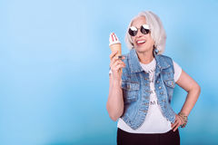 Cheerful senior pretty woman expressing her emotions. Stock Photography