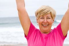 Cheerful senior woman Stock Photos