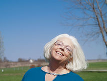 Cheerful senior woman. Outdoor portrait of a cheerful senior woman Royalty Free Stock Images