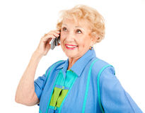 Cheerful Senior Woman on Cellphone Royalty Free Stock Images