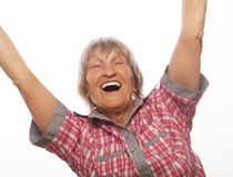 cheerful senior woman gesturing victory Royalty Free Stock Photos