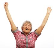 cheerful senior woman gesturing victory Stock Photos