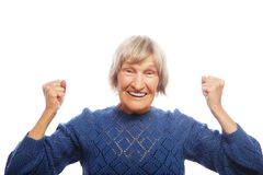 cheerful senior woman gesturing victory Royalty Free Stock Images