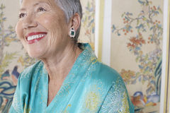 Cheerful Senior Woman Looking Up Royalty Free Stock Photos