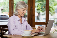 Cheerful senior woman using laptop computer. While sitting at cafe shop Stock Photo