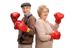 Cheerful seniors with boxing gloves Stock Photo