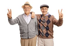 Cheerful seniors making peace signs Stock Photos