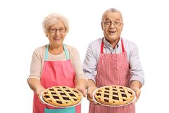 Cheerful seniors offering freshly baked pies Royalty Free Stock Photo
