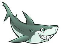 Cheerful shark. Funny cartoon shark on the white background stock illustration
