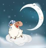 Lovely lamb and a moon. Cartoon Stock Photography