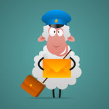 Cheerful sheep mailman holds letter Stock Photos