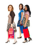Cheerful shoppers women walking Royalty Free Stock Photography