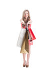 Cheerful shopping female Royalty Free Stock Photos