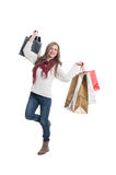 Cheerful shopping girl Stock Photography