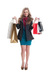 Cheerful shopping girl Royalty Free Stock Image