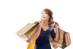 Cheerful shopping woman Royalty Free Stock Photos