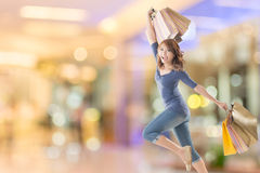 Cheerful shopping woman Royalty Free Stock Photo