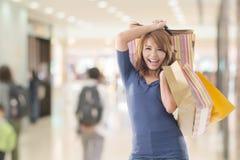 Cheerful shopping woman Royalty Free Stock Photos