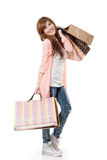 Cheerful shopping woman Stock Photos
