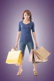 Cheerful shopping woman Stock Image