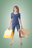 Cheerful shopping woman Royalty Free Stock Photography