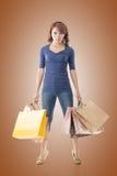 Cheerful shopping woman Stock Photos