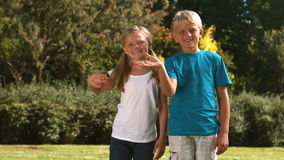 Cheerful siblings waving together in their garden. In slow motion stock video