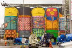Cheerful silos at a cement factory on vancouver's waterfront Royalty Free Stock Photo