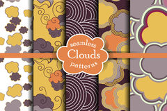 Cheerful sky seamless pattern set. Royalty Free Stock Photos