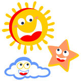 Cheerful in the sky stock illustration