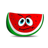 Cheerful slice of watermelon, cartoon on white background. Royalty Free Stock Photo