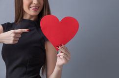 Cheerful slim girl is celebrating her love royalty free stock images