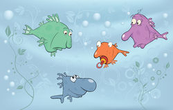 Cheerful small fishes in lake. Cartoon Stock Image