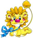 Cheerful small lion with a dar Royalty Free Stock Photography