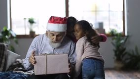 Cute little girls giving christmas gift to grandpa stock video footage