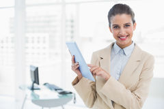 Cheerful smart brown haired businesswoman using a tablet pc Stock Photo