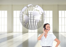 Cheerful smart call center agent working Royalty Free Stock Photo