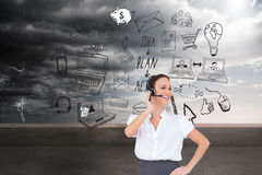 Cheerful smart call center agent working Royalty Free Stock Images