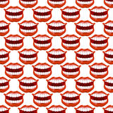 Cheerful smile lip seamless pattern. Red lips and white teeth te Stock Photography