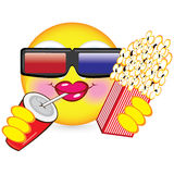 Cheerful smiley. Eating popcorn. Illustration for design on white background Royalty Free Stock Photos